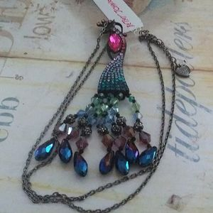 Betsey Johnson peacock necklace nwt